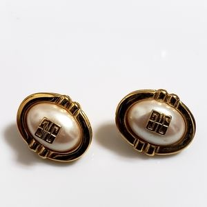 Givenchy Faux Pear Gold Earrings w Emblem
